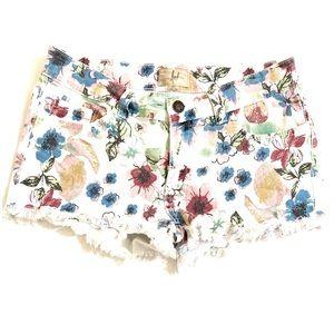 BOGOF Floral White Cut Off Shorts Size 27